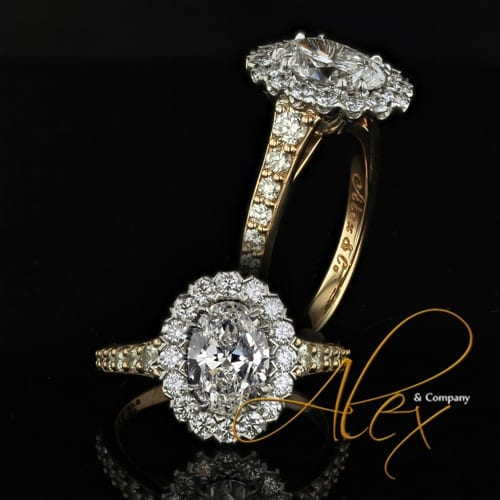 18K yellow gold oval diamond