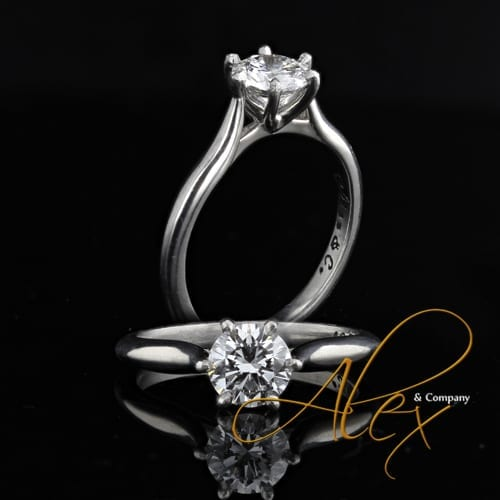 platinum 6 prong diamond engagement ring